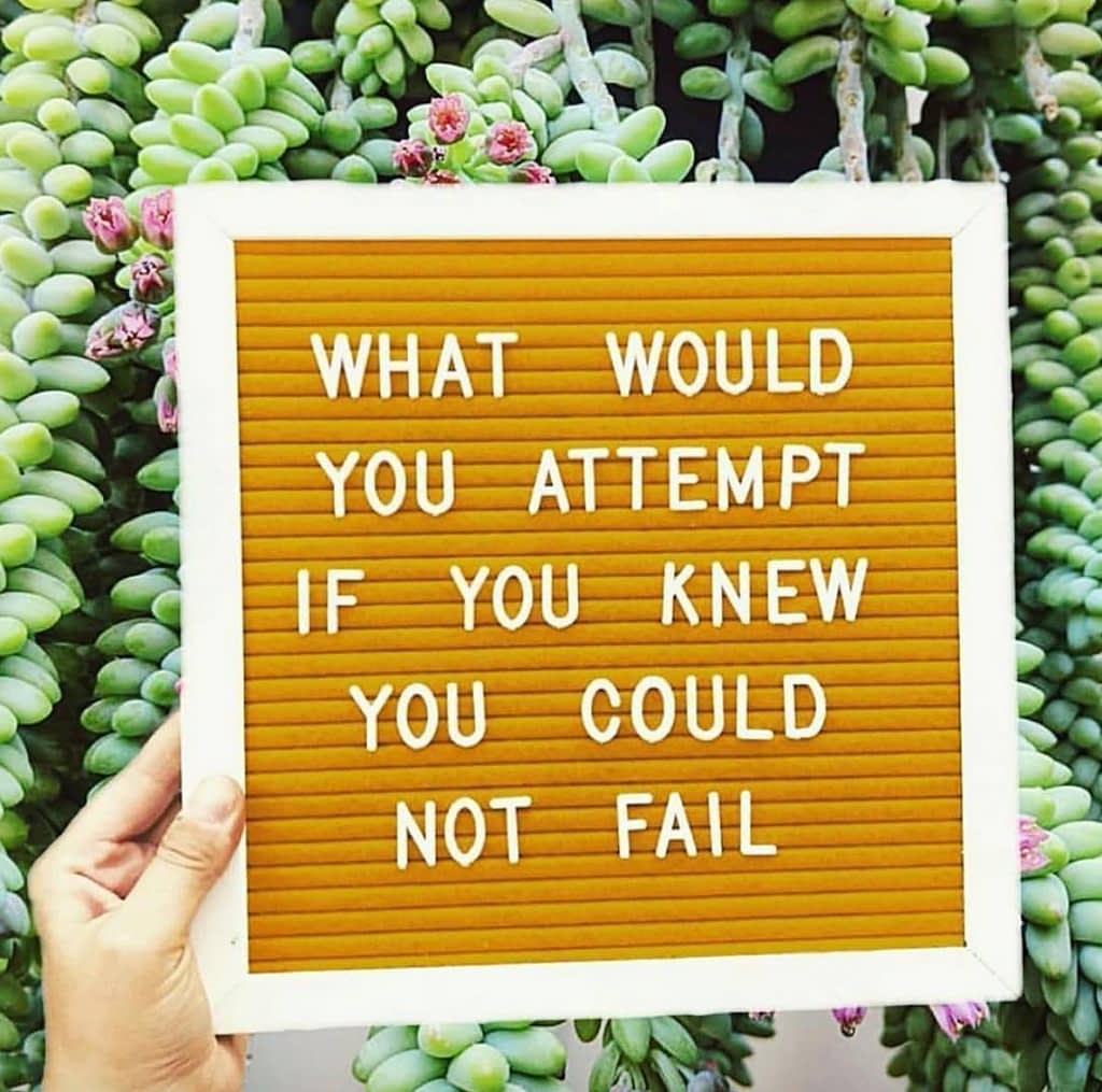 What would you attempt if you knew you could not fail